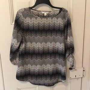 100% Light Polyester Black & White 3/4 Sleeve Top